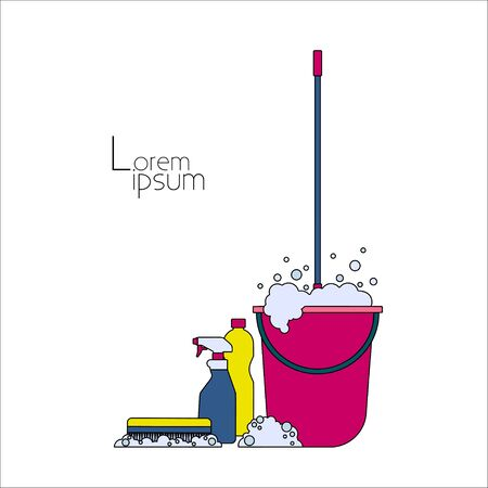 foaming: Mop in pink bucket with a foaming cleanser, household chemicals and cleaning brush on white background Thin line Illustration