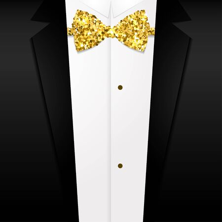 Vector illustration Shiny golden bow tie on background of a tuxedo Realistic style