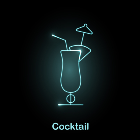 colada: Neon food icon Vector illustration Glowing cocktail light-blue neon icon
