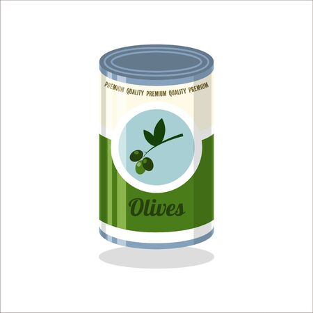 tinned: Tin Vector illustration Retro tin can with olives on white background Illustration