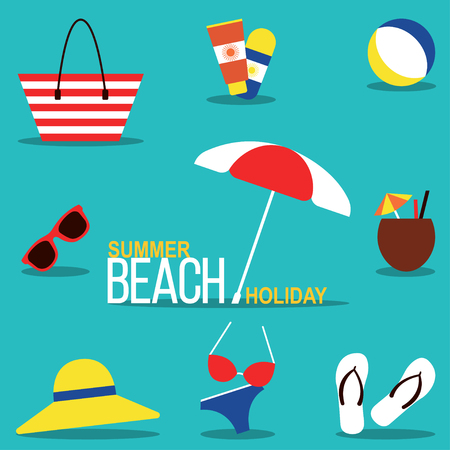 Summer beach holiday Vector illustration Set for beach rest in the flat design: beachwear, footwear and accessories Set of icons for relaxing on the beach Illustration