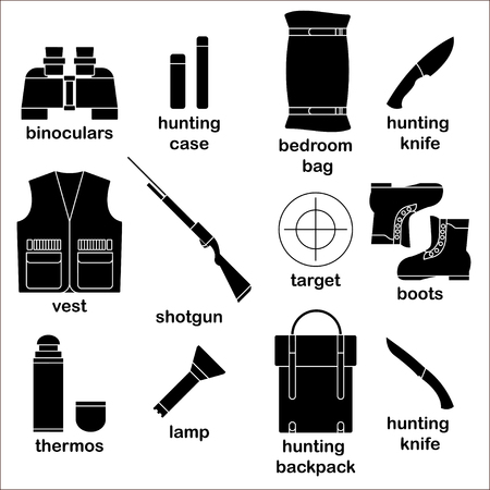 waistcoat: Set of silhouette icons with different modern hunter equipment on white background Illustration