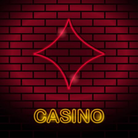 strip club: Neon card suit Vector illustration Neon lamp for casino in the form of diamonds card suit on a brick wall Lamp in form of diamonds card with red lighting