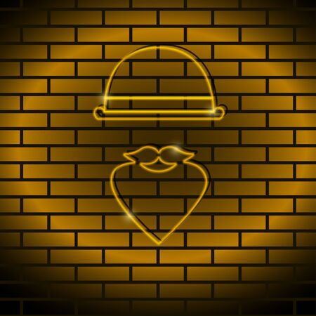 led: Neon icon Vector illustration Neon lamp yellow color in the form of a man with a mustache, a bowler hat on a brick wall Trendy postcard template, text place, copy space
