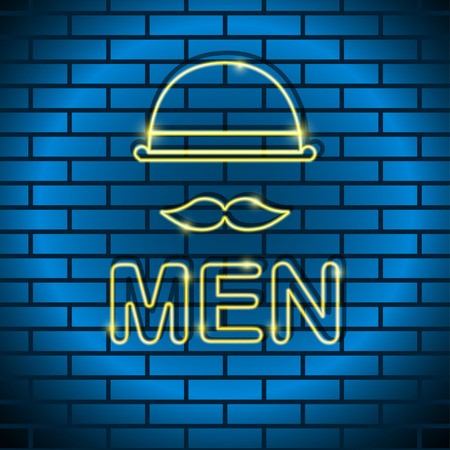 strip club: Neon icon Vector illustration Neon lamp yellow color in the form of a man with a mustache, a bowler hat on a brick wall Trendy postcard template, text place, copy space