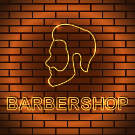 Neon icon in realistic style Vector illustration Neon sign of hairdressing salon with the inscription Barbershop in yellow color on a brick wall background Trendy design and text effect Illustration
