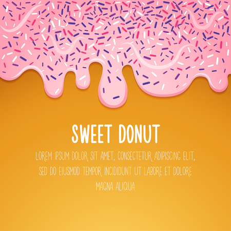 Glazed donut Vector illustration Donut with pink glaze Trendy background, card and poster template Doughnut with glaze dripping down Modern realistic illustration
