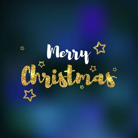 Merry Christmas text design Vector template for banner, greeting card, poster and postcard The golden calligraphic inscription Merry Christmas with stars as decoration on the blurred blue background Illustration