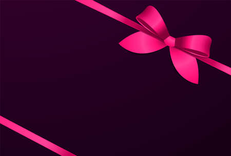 Decorative pink bow and pink ribbons on dark purple background