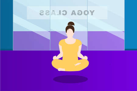 Woman in yellow tracksuit is meditating in the lotus position