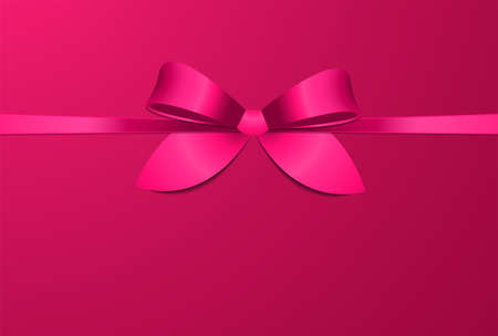 Vector illustration with crimson satin bow on pink backdrop