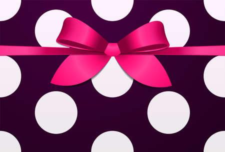 Crimson satin bow on classic polka dot background