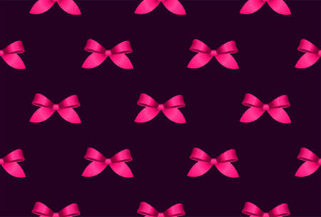 Many crimson satin bows on dark purple background 向量圖像