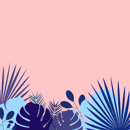 Different tropical leaves in blue shades on a pink background Poster template with copy space Ilustração