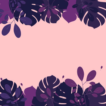 Palm leaves in lilac shades on a pink background Design template with copy space