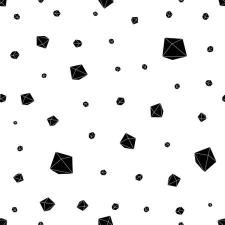 Seamless pattern with black geometric crystals on white background