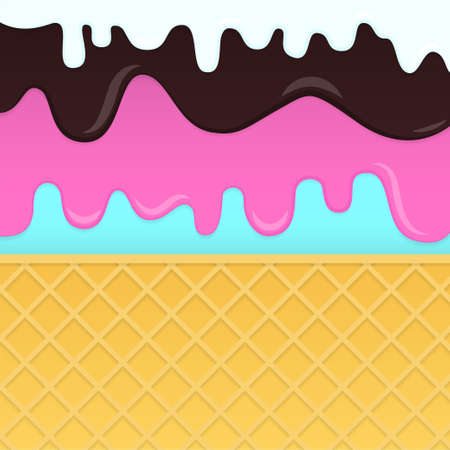 Colorful ice cream with syrup in close-up Vector illustration Banco de Imagens - 150646466