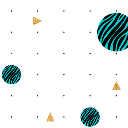 Abstract pattern with black polka dots, golden triangles and zebra print in round shapes on a white background Illustration