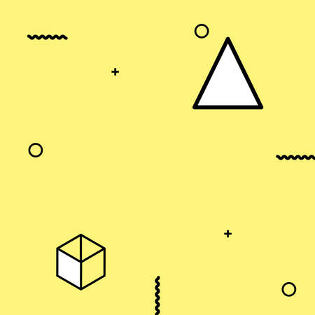 Triangles, circles, waves and other geometric elements on a yellow backdrop Template for posters and banners