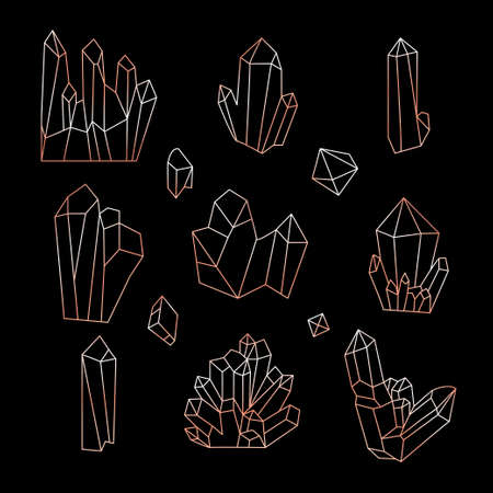 Line icons of crystals, diamonds and mineral stones in rose gold isolated on black background