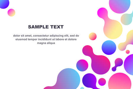 Abstract composition of fluid shapes with trendy multicolored gradients Template with copy space
