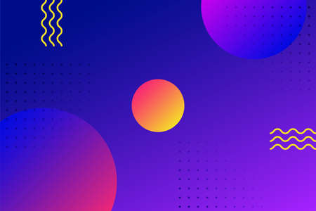Geometric composition with bright circles and yellow waves on a two-tone background Template with copy space Illustration
