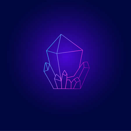 Bright neon outline icon of crystal mineral on dark background Illustration