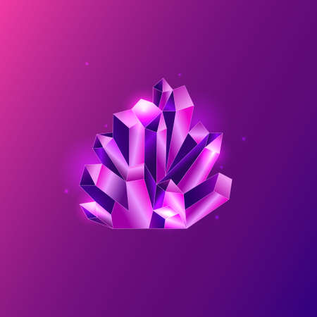 Pink geometric crystal in diamond shape on bright pink background