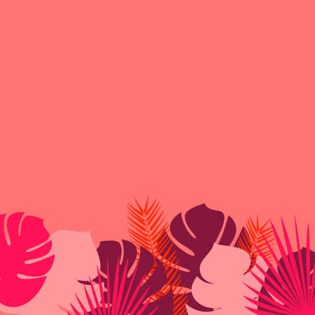 Vector illustration with different tropical leaves on a coral background with copy space