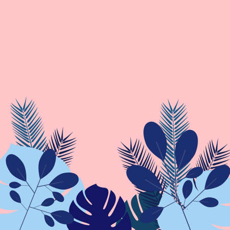 Different tropical and palm leaves in blue shades on a pink background Design template with copy space