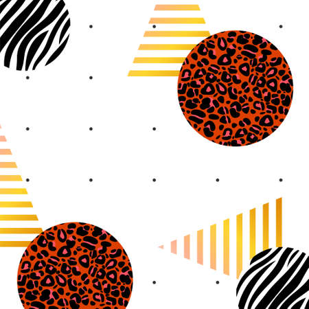 Pattern with black polka dot, golden shiny triangles, leopard, and zebra print in round shapes on a white background Illustration
