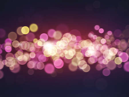 Colorful shiny bokeh lights on dark background Template with copy space
