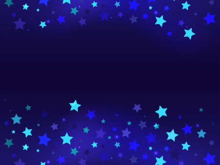 Many flying stars of blue shades on a dark blue background Фото со стока