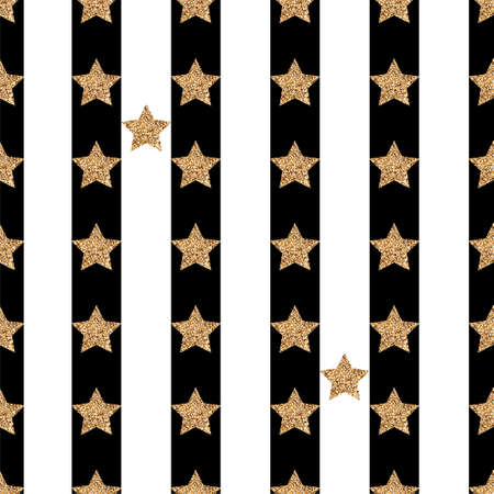 Seamless pattern with gold glitter stars on a black and white striped background Фото со стока