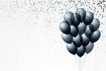 Bunch of dark balloons and confetti on white background
