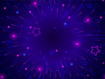 Neon light rays and stars are blowing up in dark space Design template