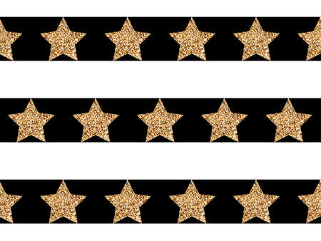 Golden glowing stars on a black and white striped background
