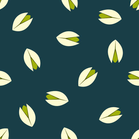 Vector background with pistachio nuts in flat style