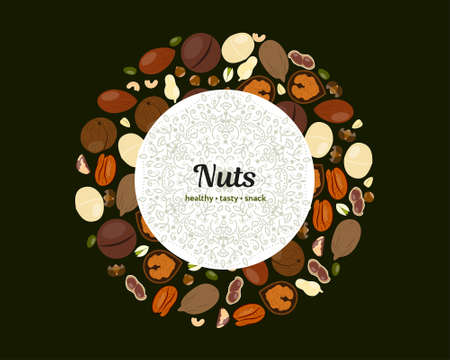 Nuts vector template for packing and posters with copy space Иллюстрация
