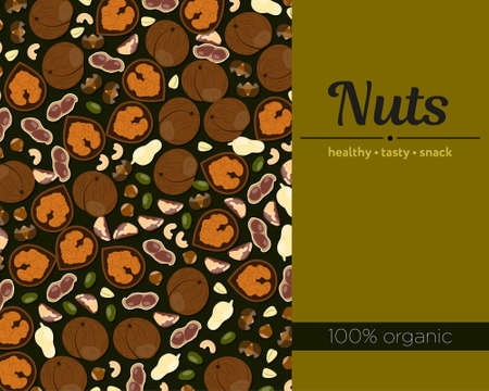 Nuts Template for packing and posters in flat style
