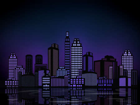 Night city Panorama illustration with copy space