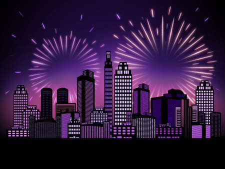 Fireworks in night city Illustration with copy space