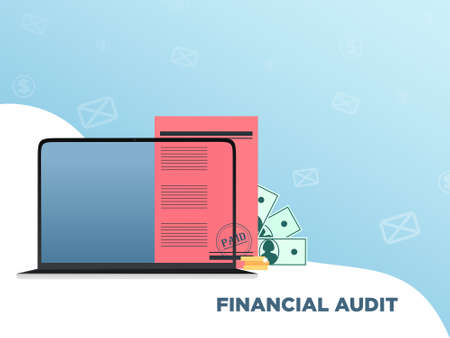 Financial audit Vector illustration with copy space in flat style Иллюстрация