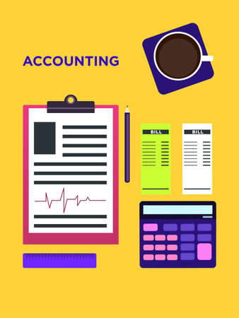 Accounting Top view vector illustration in flat style