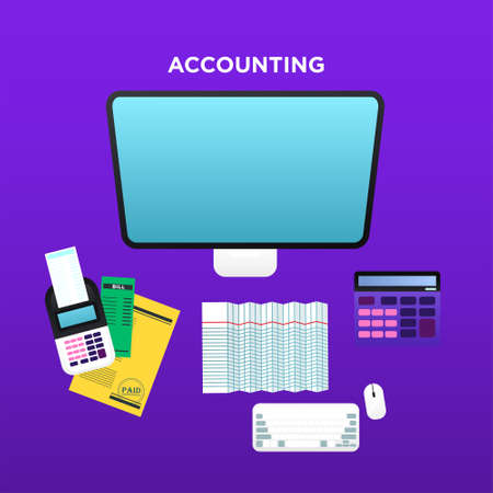 Bookkeeper working table Vector illustration in flat style