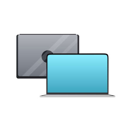Laptop flat style icon Vector isolated illustration