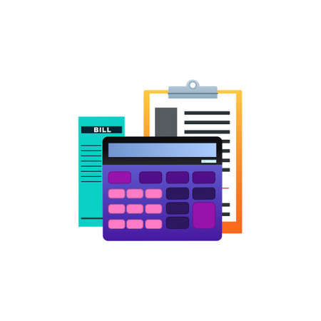 Bookkeeping Vector isolated icon in flat design Иллюстрация