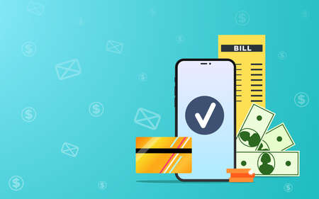 Online payment Vector illustration with copy space in flat design