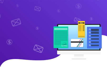 Online bookkeeping Vector illustration with copy space