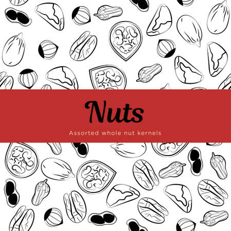 Assorted nuts Vector template for packing paper